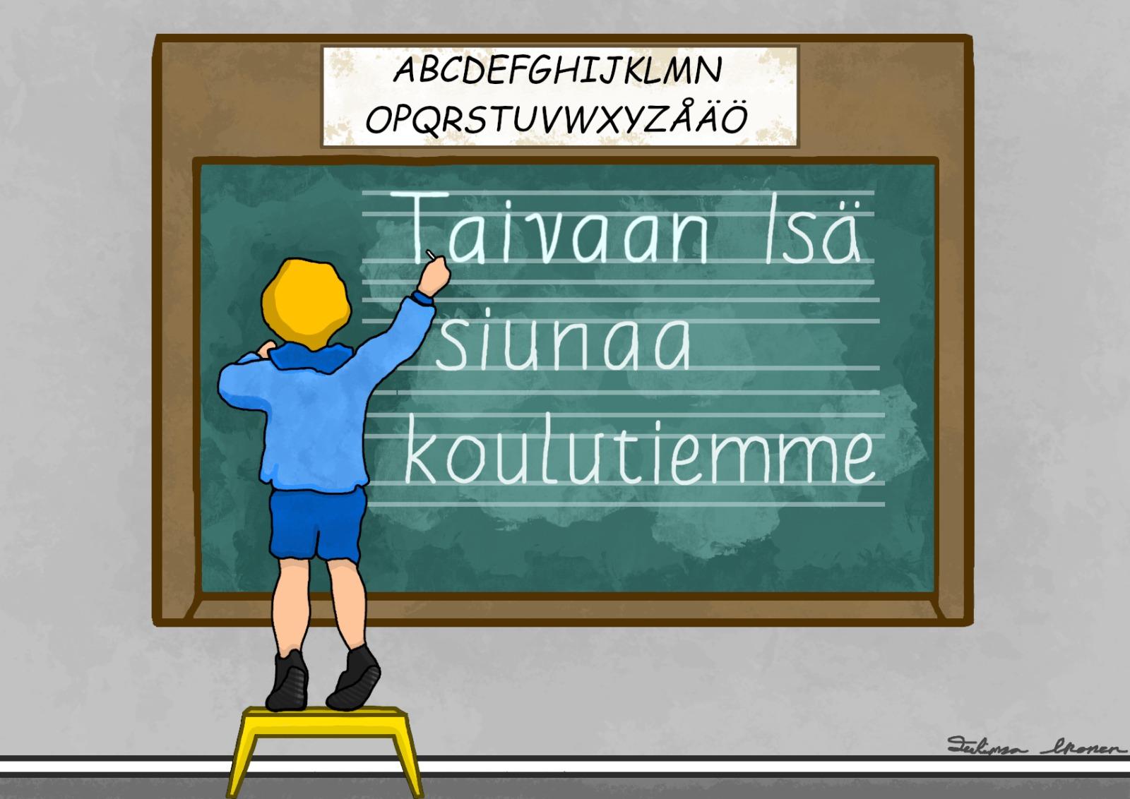 Lapsi kirjoittaa taululle: Taivaan Isä siunaa koulutiemme, kuva